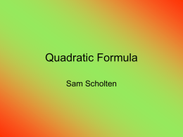 Quadratic Formula - chss
