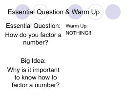 Essential Question & Warm Up