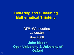 Fostering & Sustaining Math`l Th`g Leicester
