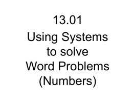 13_01 - Using Systems - Number Problems