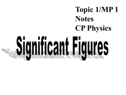 Topic 1/MP 1 Notes CP Physics Significant Figures - kern