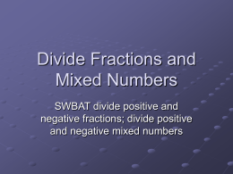Divide Fractions and Mixed Numbers