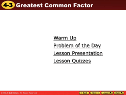 4.3 Greatest Common Factor