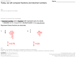 Comparing Fractions and Decimal Numbers