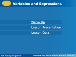 Variables and Expressions Presentation
