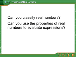 1.2 Properties of Real Numbers Notes ppt
