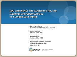 DDC and BISAC: The Authority File, the Mappings and Opportunities