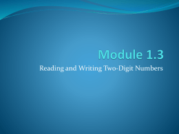 1.3 Reading and Writing Two Digit Numbers