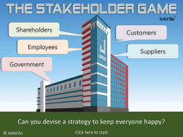 The Stakeholder Game - Amazon Web Services