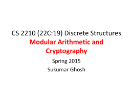 Integers, Modular Arithmetic and Cryptography