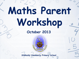 Maths Parent Workshop - Stakesby Community Primary School