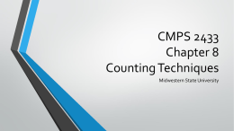 CMPS 2433 Chapter 8 Counting Techniques