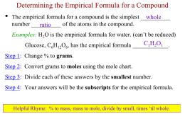 Chem A Week 12 Empirical Forumla and Molecular Formula