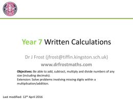 Yr7-WrittenCalculationsx (Slides)