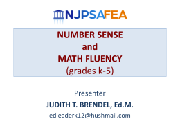 NUMBER SENSE and MATH FLUENCY (grades k-5)