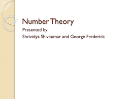 On Number theory algorithms from Srividya and George