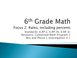 6th Grade Math Focus 2: Rates, including percents