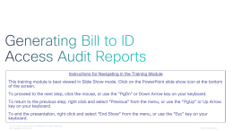 Generating BID Access Audit Reports