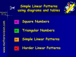 Simple Linear Patterns using diagrams and tables