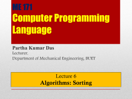 Lecture 6: Algorithms: Sorting