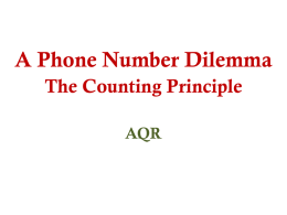 A Phone Number Dilemma The Counting Principle