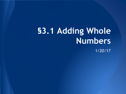 01-24 3.1-3.2 Adding/Subtracting Whole Numbers