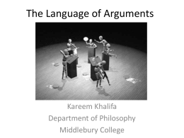 The Language of Arguments - Middlebury College: Community