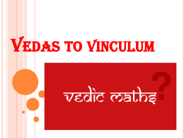 Training Module 2016 Vedas to vinculum
