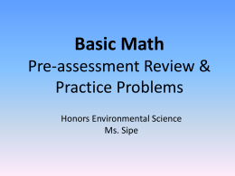 APES Unit 1: Basic Math Review