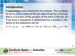 Sequences as Functions - Social Circle City Schools