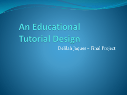 Educational Tutorial Design