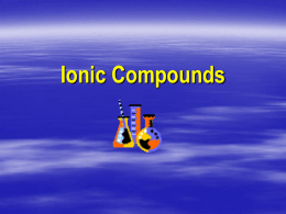 Bonding and Naming Ionic Compounds Workshop