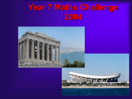 Year 7 Maths Challenge 2004