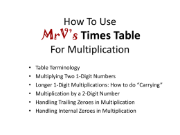 Using MrV*s Times Table