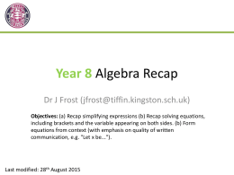 Yr8-AlgebraRecapx (Slides)