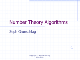 Lecture 11: Number Theory Algorithms
