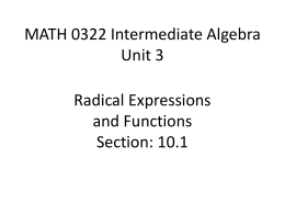 MATH 0322 Intermediate Algebra Unit 2