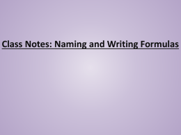 Notes - Nomenclature File