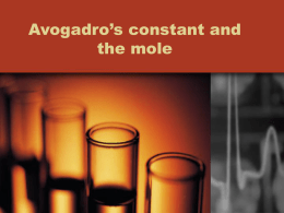 Avogadro`s constant and the mole