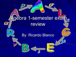 Algebra 1-semester exam review - Marquette University High