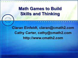 Games to Build Mathematical Skills and Thinking