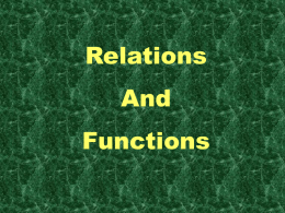 Functions and Relations - Currituck County Schools