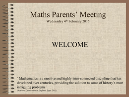 Maths EYFS Parents Meeting