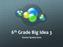 6th Grade Big Idea 3 - Math GR. 6-8