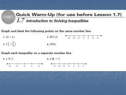 1.7 Introduction to Solving Inequalities