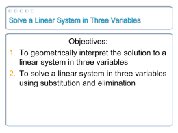 3.4: Solve a Linear System in Three Variables