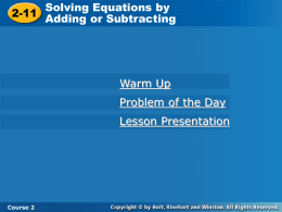 Equations - Adding and Subtracting