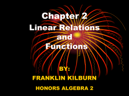 CHAPTER 2: LINEAR RELATIONS & FUNCTIONS