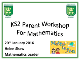 Maths Curriculum Parent Presentation
