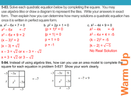 Warm Up 5.2.3 More Completing the Square